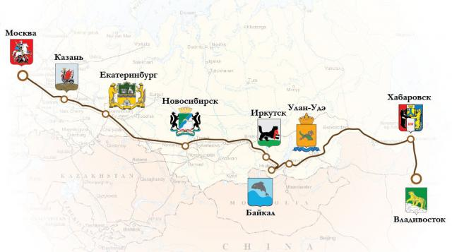 From Moscow to Vladivostok by the transsiberian train
