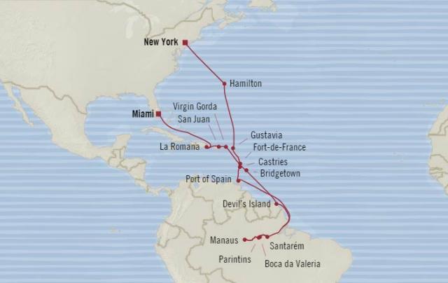 Oceania Sirena– New York, Dél-Karib térség, Amazonas, Miami