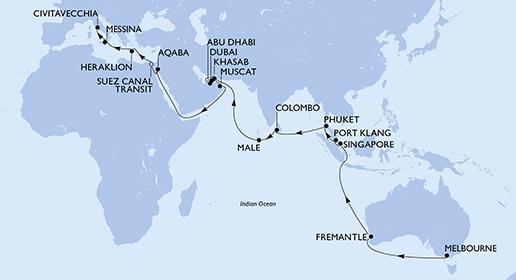 MSC Magnifica - Ausztráliából Európába, 41 éjszakás hajóút