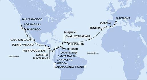 MSC Magnifica - 34 napos hajóút Barcelónából San Francisco-ba