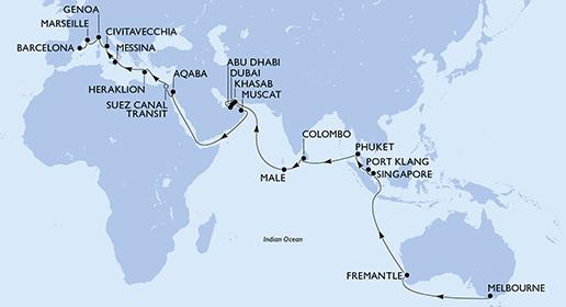 MSC Magnifica - Varázslatos hajóút Melbourne-ből Barcelonába