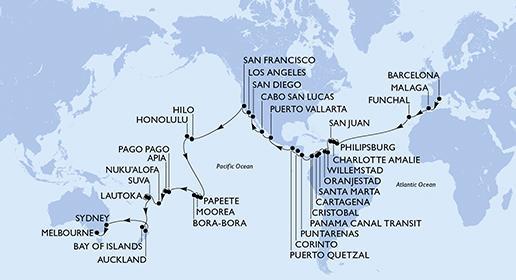 MSC Magnifica - 74 éjszakás hajóút, Barcelonából Melbourne-be